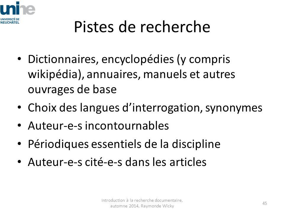 Pistes de recherche Dictionnaires, encyclopédies (y compris wikipédia), annuaires, manuels et autres ouvrages de base Choix des langues d'interrogatio