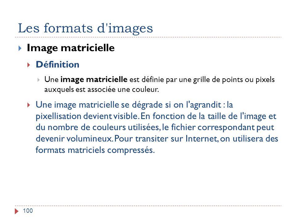 Les formats d'images 100  Image matricielle  Définition  Une image matricielle est définie par une grille de points ou pixels auxquels est associée