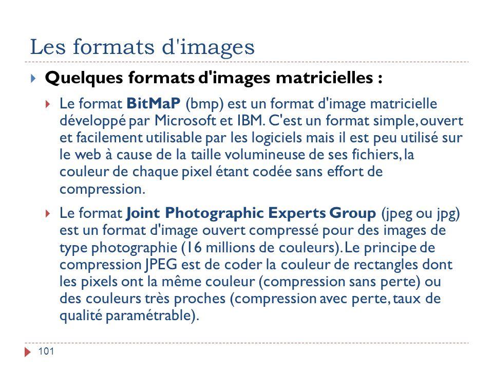 Les formats d'images 101  Quelques formats d'images matricielles :  Le format BitMaP (bmp) est un format d'image matricielle développé par Microsoft
