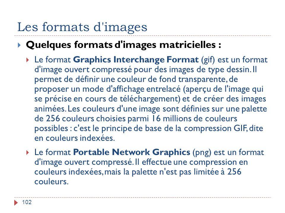 Les formats d'images 102  Quelques formats d'images matricielles :  Le format Graphics Interchange Format (gif) est un format d'image ouvert compres