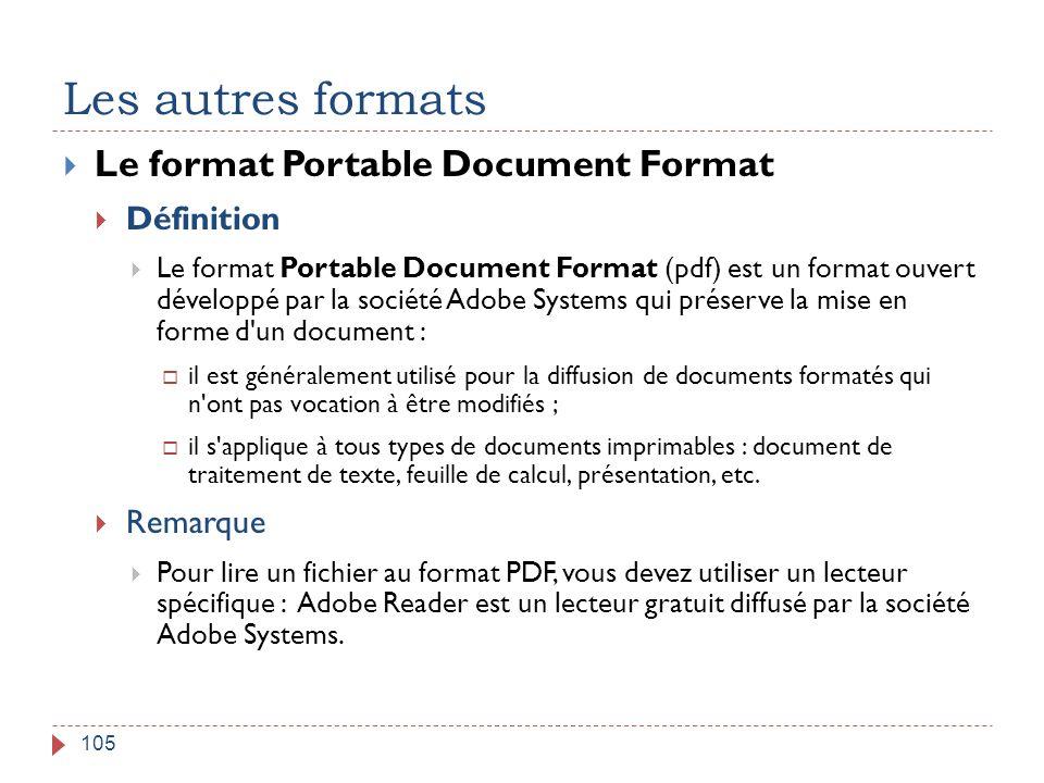 Les autres formats 105  Le format Portable Document Format  Définition  Le format Portable Document Format (pdf) est un format ouvert développé par