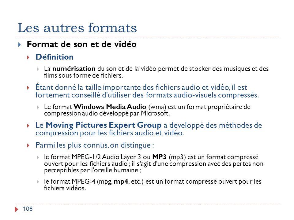 Les autres formats 106  Format de son et de vidéo  Définition  La numérisation du son et de la vidéo permet de stocker des musiques et des films so