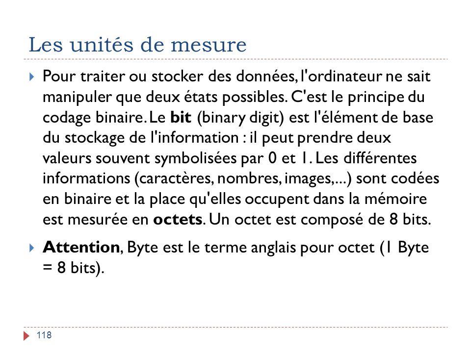 Les unités de mesure 118  Pour traiter ou stocker des données, l'ordinateur ne sait manipuler que deux états possibles. C'est le principe du codage b