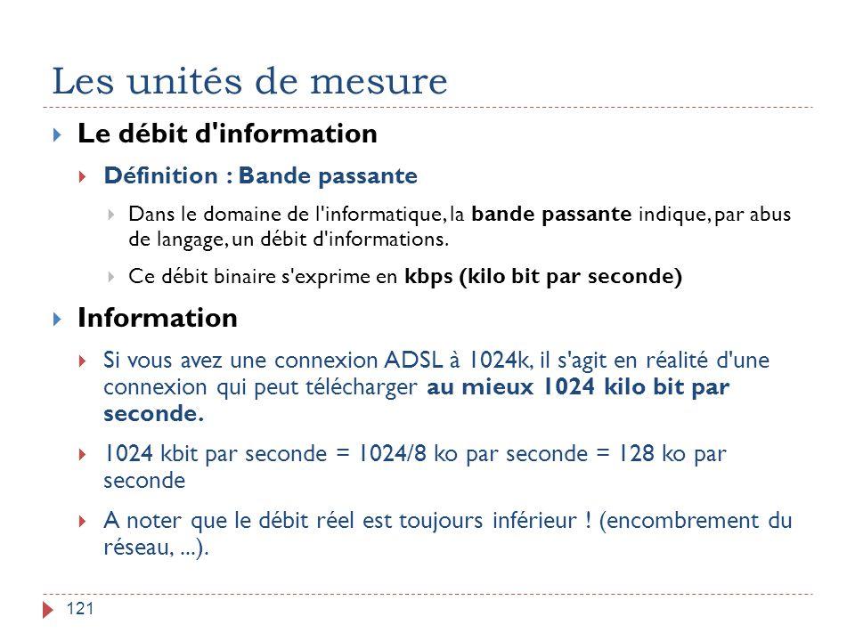 Les unités de mesure 121  Le débit d'information  Définition : Bande passante  Dans le domaine de l'informatique, la bande passante indique, par ab