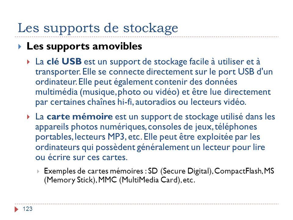 Les supports de stockage 123  Les supports amovibles  La clé USB est un support de stockage facile à utiliser et à transporter. Elle se connecte dir