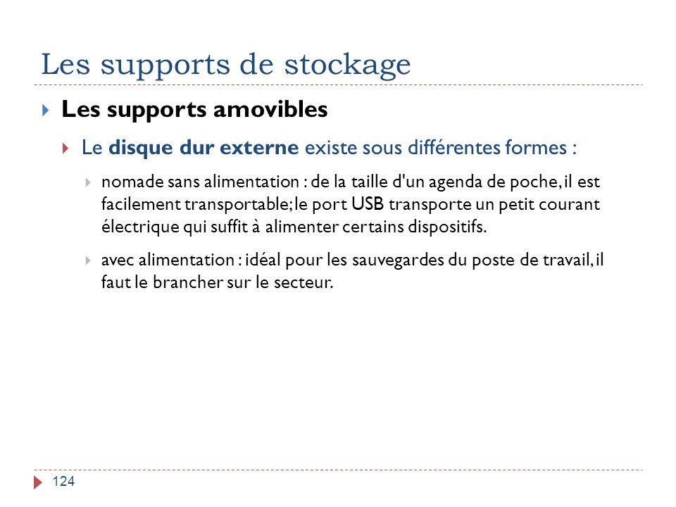 Les supports de stockage 124  Les supports amovibles  Le disque dur externe existe sous différentes formes :  nomade sans alimentation : de la tail