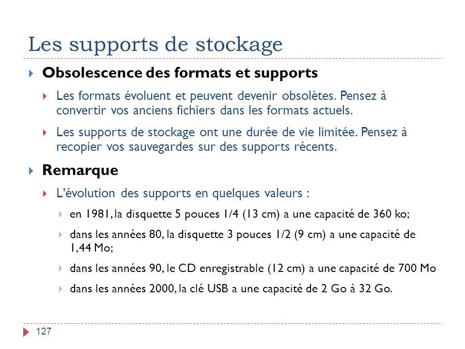 Les supports de stockage 127  Obsolescence des formats et supports  Les formats évoluent et peuvent devenir obsolètes. Pensez à convertir vos ancien