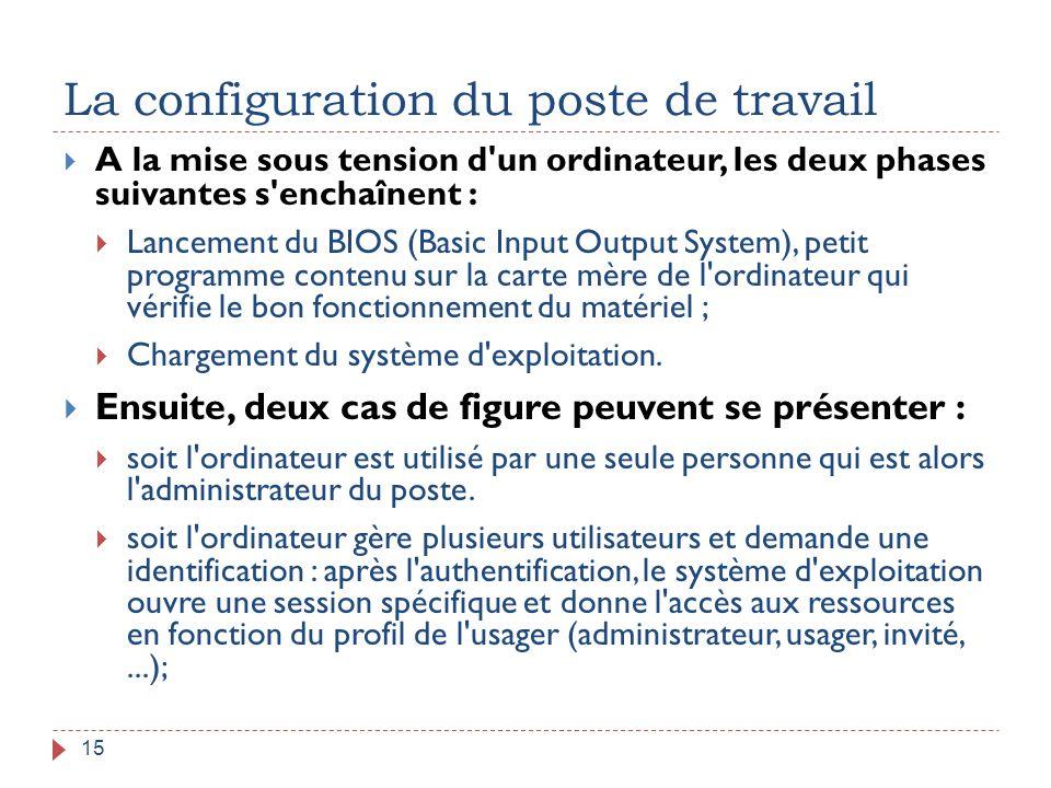 La configuration du poste de travail 15  A la mise sous tension d'un ordinateur, les deux phases suivantes s'enchaînent :  Lancement du BIOS (Basic