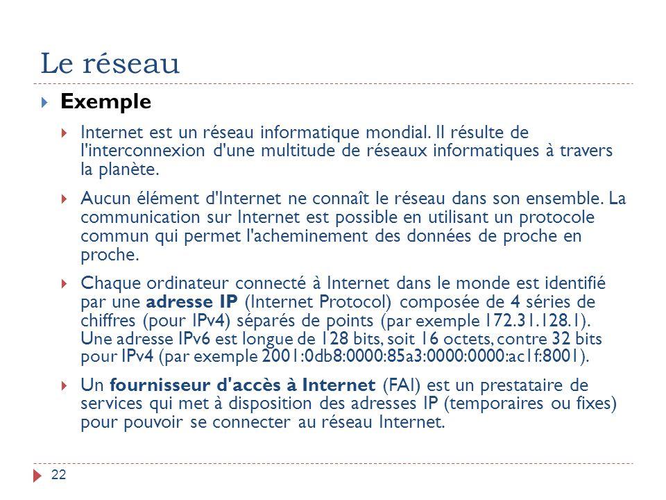 Le réseau 22  Exemple  Internet est un réseau informatique mondial. Il résulte de l'interconnexion d'une multitude de réseaux informatiques à traver