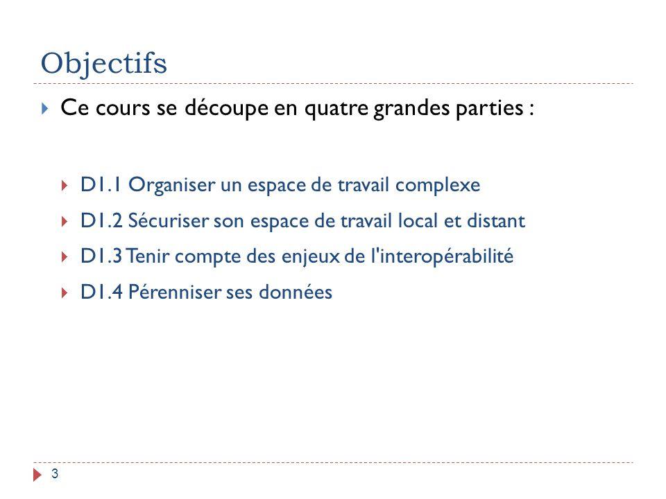 Objectifs 3  Ce cours se découpe en quatre grandes parties :  D1.1 Organiser un espace de travail complexe  D1.2 Sécuriser son espace de travail lo