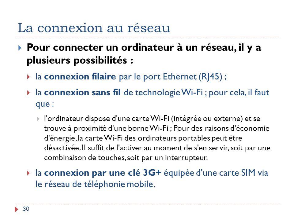 La connexion au réseau 30  Pour connecter un ordinateur à un réseau, il y a plusieurs possibilités :  la connexion filaire par le port Ethernet (RJ4