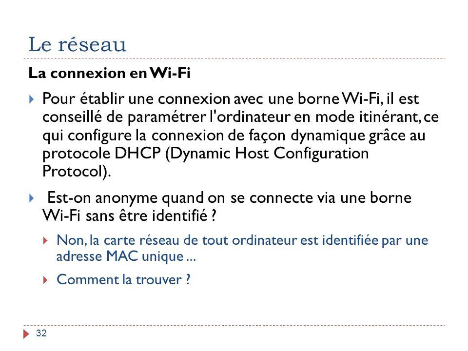 Le réseau 32 La connexion en Wi-Fi  Pour établir une connexion avec une borne Wi-Fi, il est conseillé de paramétrer l'ordinateur en mode itinérant, c