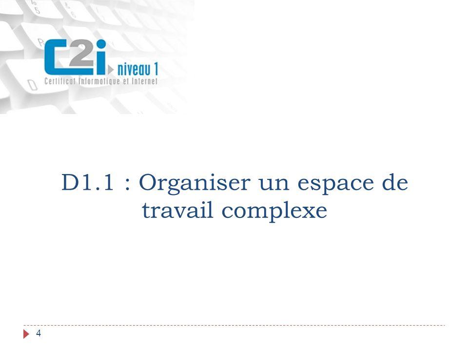 D1.1 : Plan 5  L environnement de travail  Le poste de travail  La configuration du poste de travail  Le réseau  La connexion au réseau  L installation des applications  Le choix des applications  Les environnements numériques  Les espaces de stockage  L organisation des fichiers