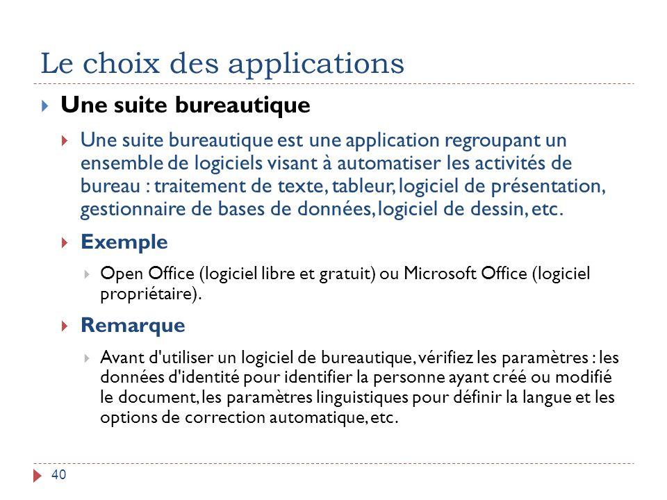 Le choix des applications 40  Une suite bureautique  Une suite bureautique est une application regroupant un ensemble de logiciels visant à automati