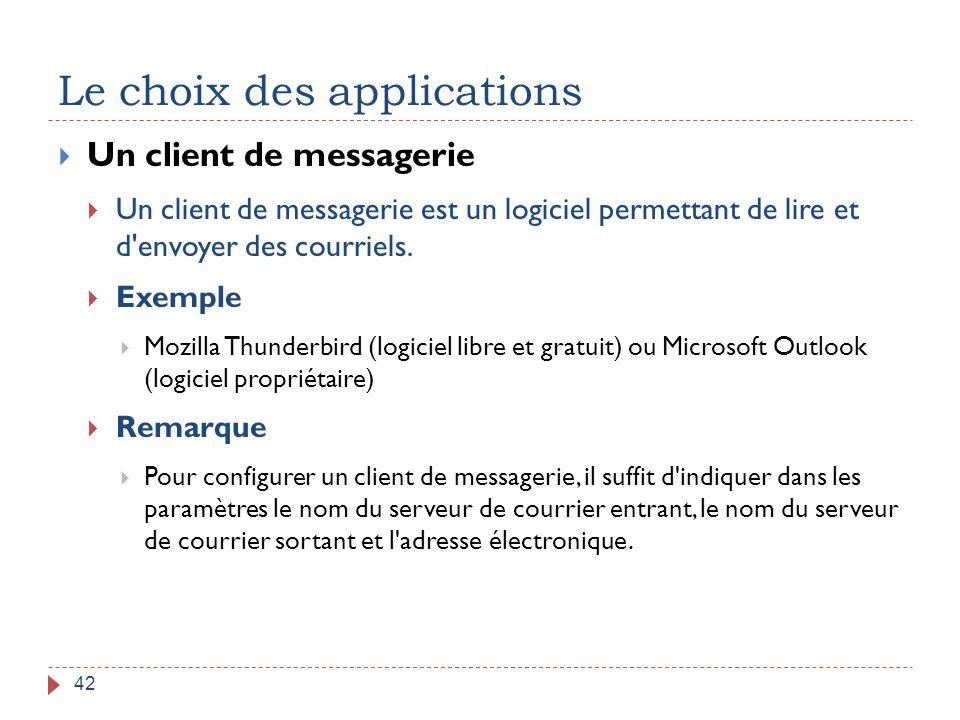 Le choix des applications 42  Un client de messagerie  Un client de messagerie est un logiciel permettant de lire et d'envoyer des courriels.  Exem