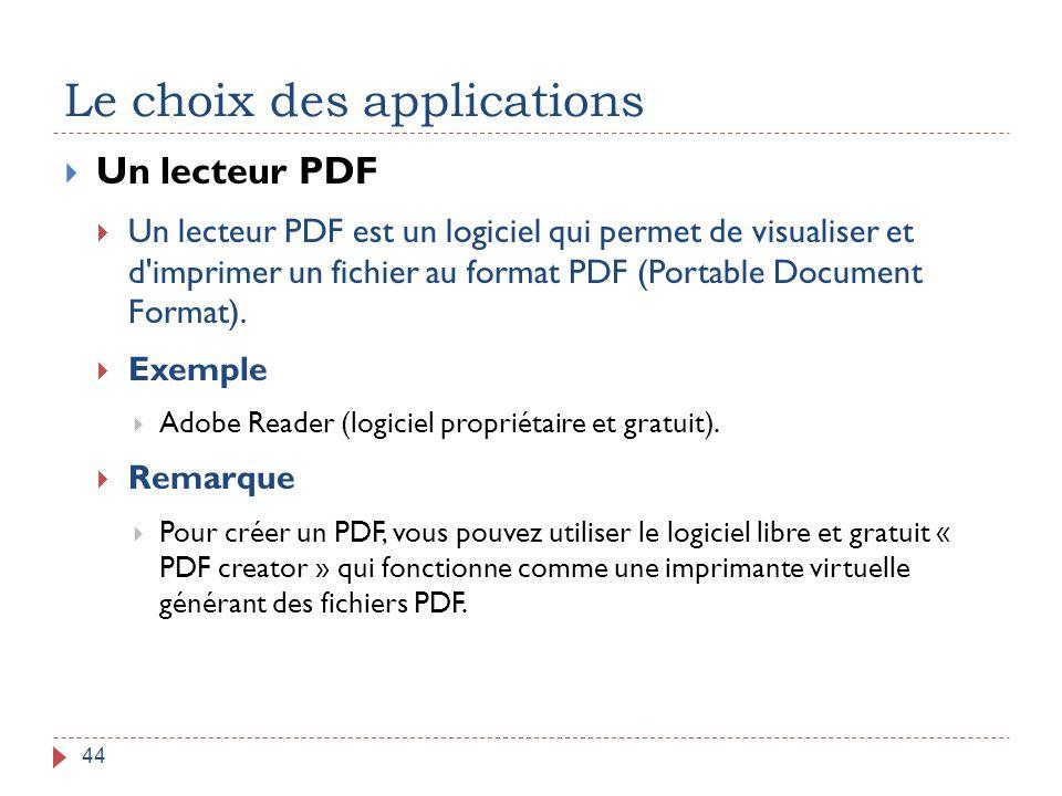 Le choix des applications 44  Un lecteur PDF  Un lecteur PDF est un logiciel qui permet de visualiser et d'imprimer un fichier au format PDF (Portab