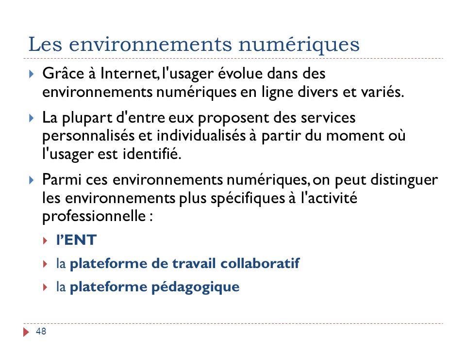 Les environnements numériques 48  Grâce à Internet, l'usager évolue dans des environnements numériques en ligne divers et variés.  La plupart d'entr