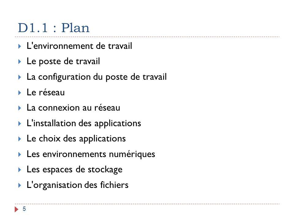 D1.1 : Plan 5  L'environnement de travail  Le poste de travail  La configuration du poste de travail  Le réseau  La connexion au réseau  L'insta