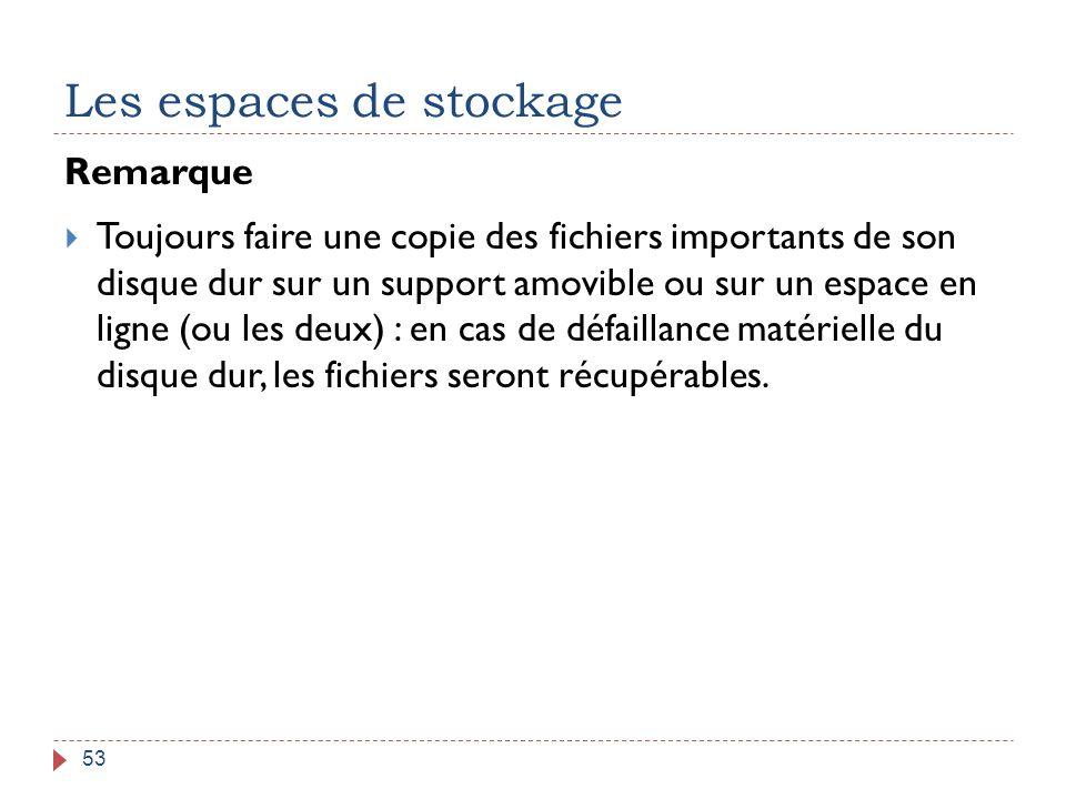 Les espaces de stockage 53 Remarque  Toujours faire une copie des fichiers importants de son disque dur sur un support amovible ou sur un espace en l