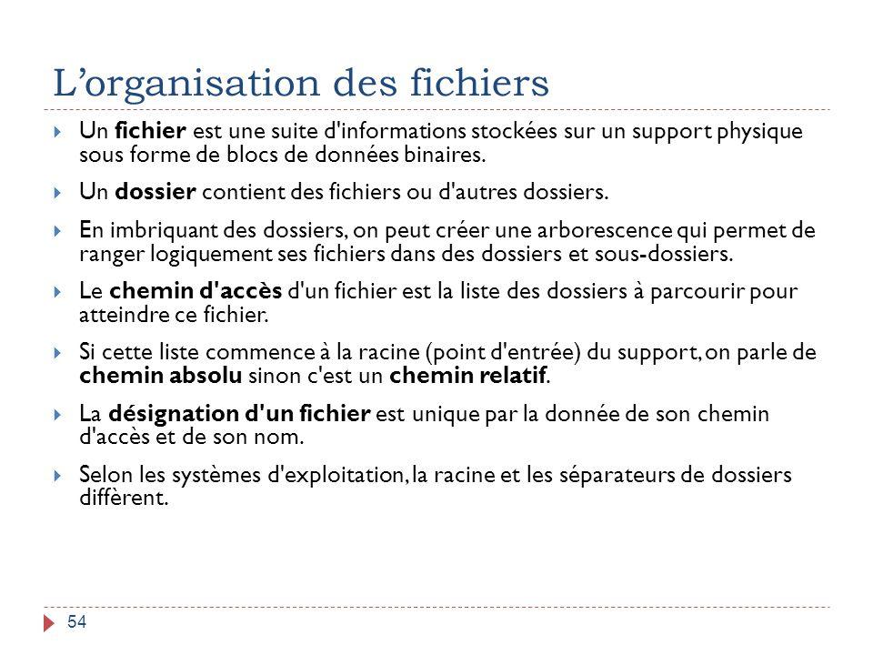 L'organisation des fichiers 54  Un fichier est une suite d'informations stockées sur un support physique sous forme de blocs de données binaires.  U