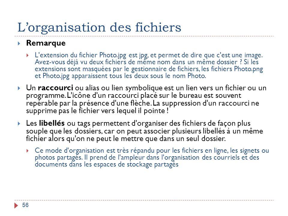 L'organisation des fichiers 56  Remarque  L'extension du fichier Photo.jpg est jpg, et permet de dire que c'est une image. Avez-vous déjà vu deux fi