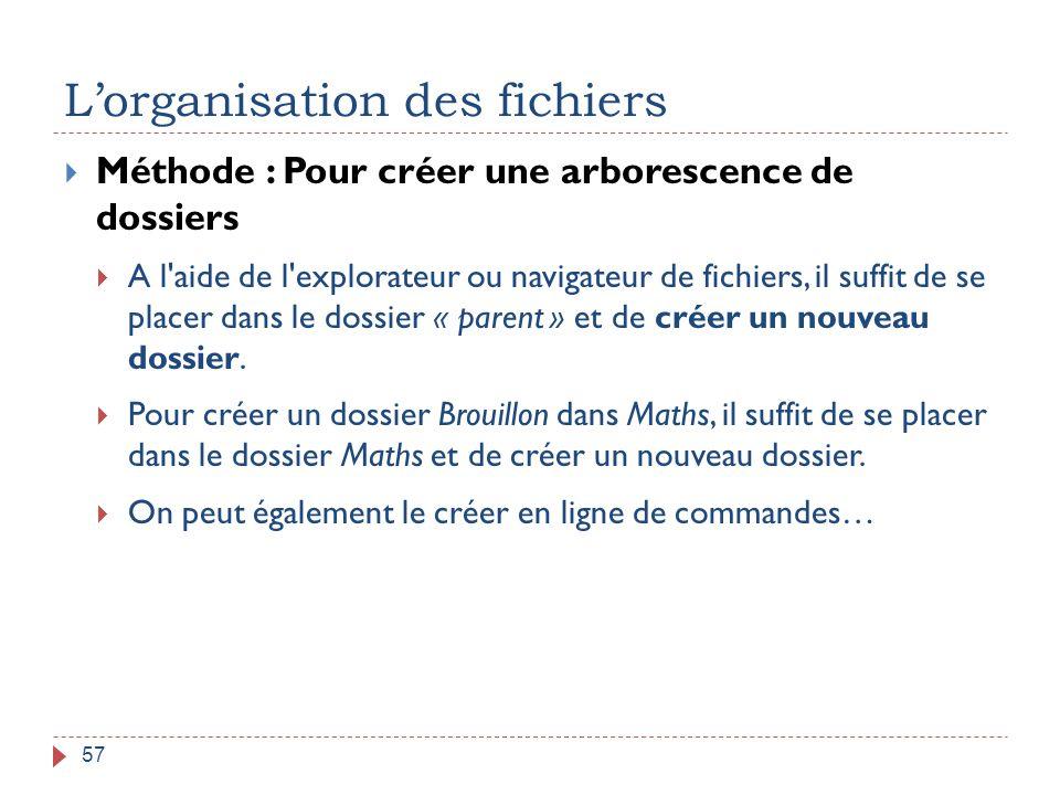 L'organisation des fichiers 57  Méthode : Pour créer une arborescence de dossiers  A l'aide de l'explorateur ou navigateur de fichiers, il suffit de