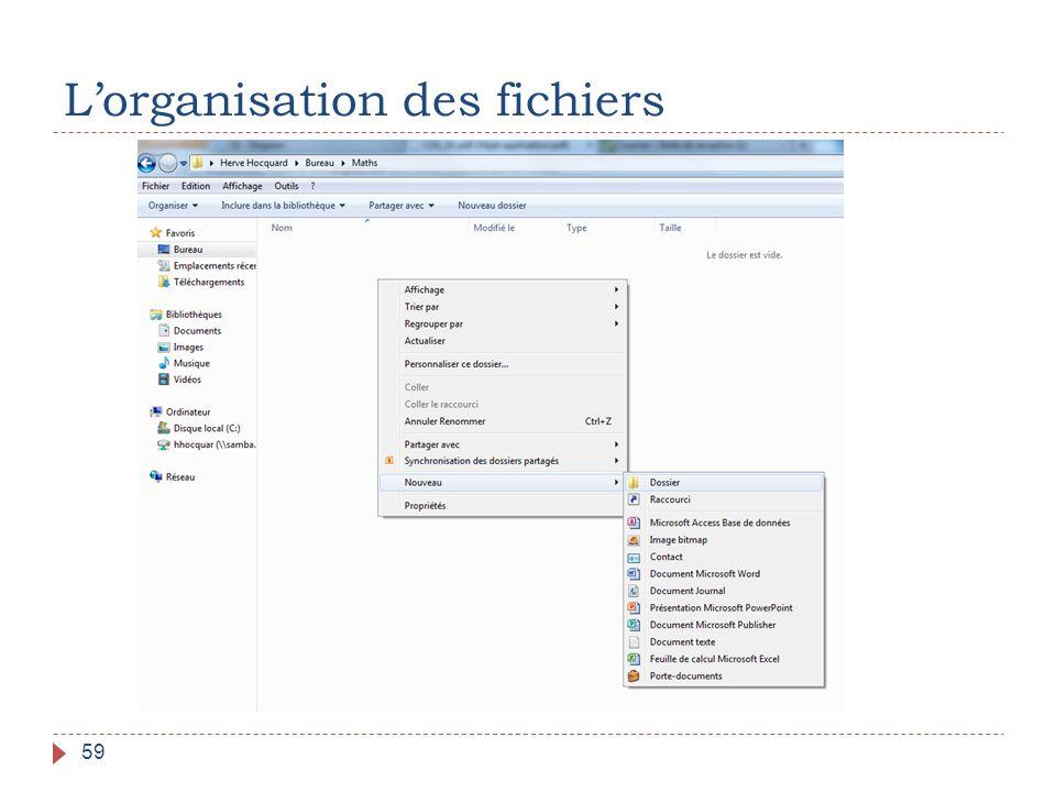 L'organisation des fichiers 59