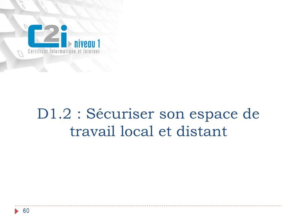60 D1.2 : Sécuriser son espace de travail local et distant