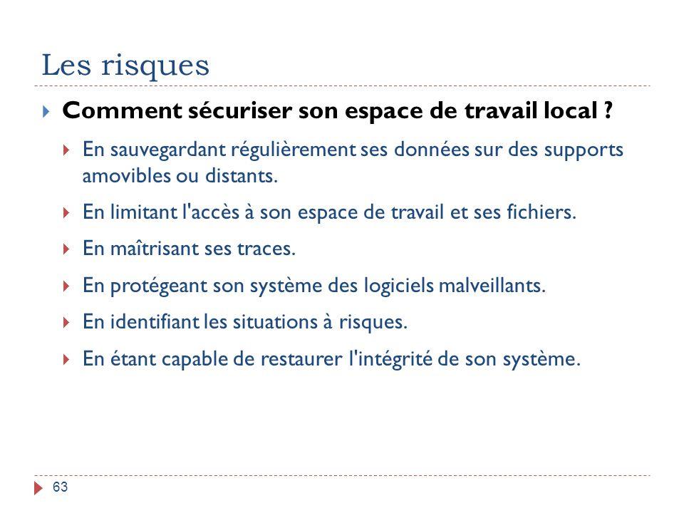 Les risques 63  Comment sécuriser son espace de travail local ?  En sauvegardant régulièrement ses données sur des supports amovibles ou distants. 