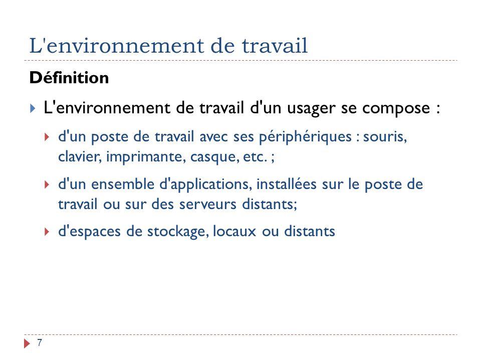 L'environnement de travail 7 Définition  L'environnement de travail d'un usager se compose :  d'un poste de travail avec ses périphériques : souris,