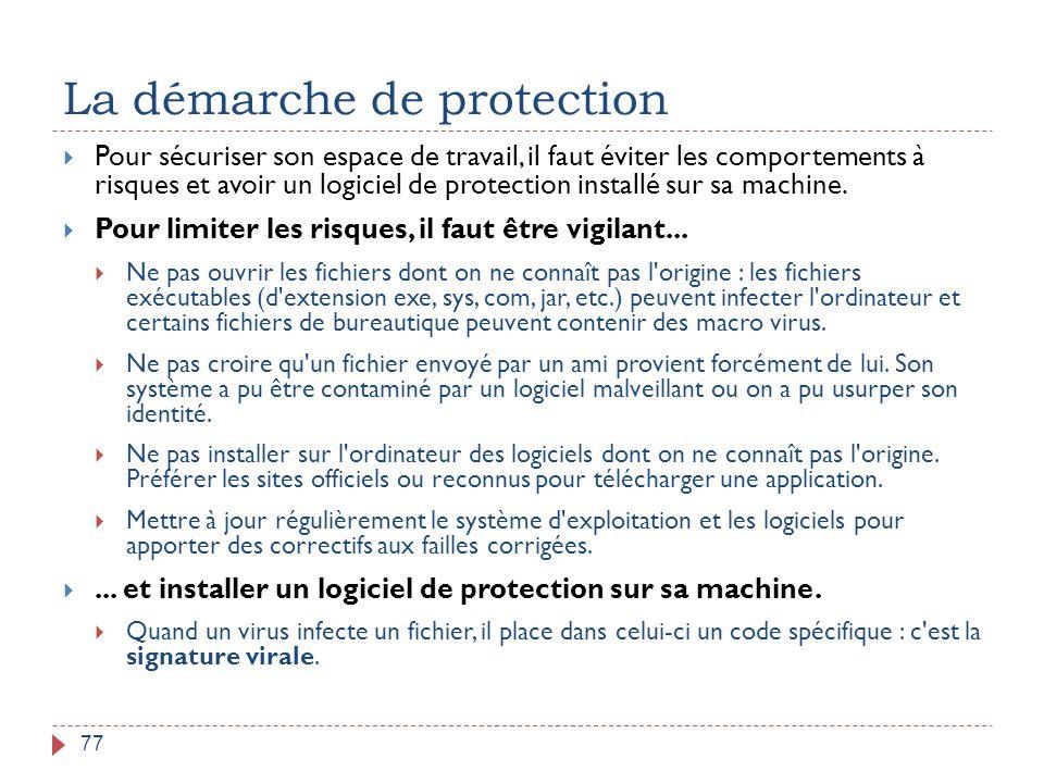 La démarche de protection 77  Pour sécuriser son espace de travail, il faut éviter les comportements à risques et avoir un logiciel de protection ins