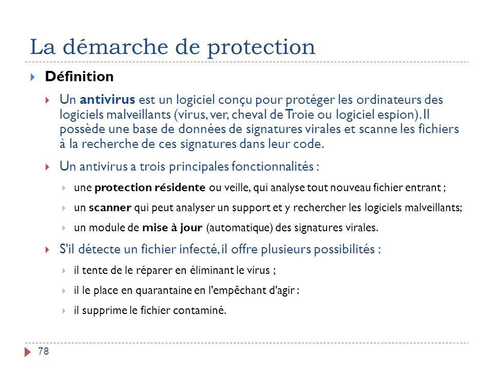 La démarche de protection 78  Définition  Un antivirus est un logiciel conçu pour protéger les ordinateurs des logiciels malveillants (virus, ver, c