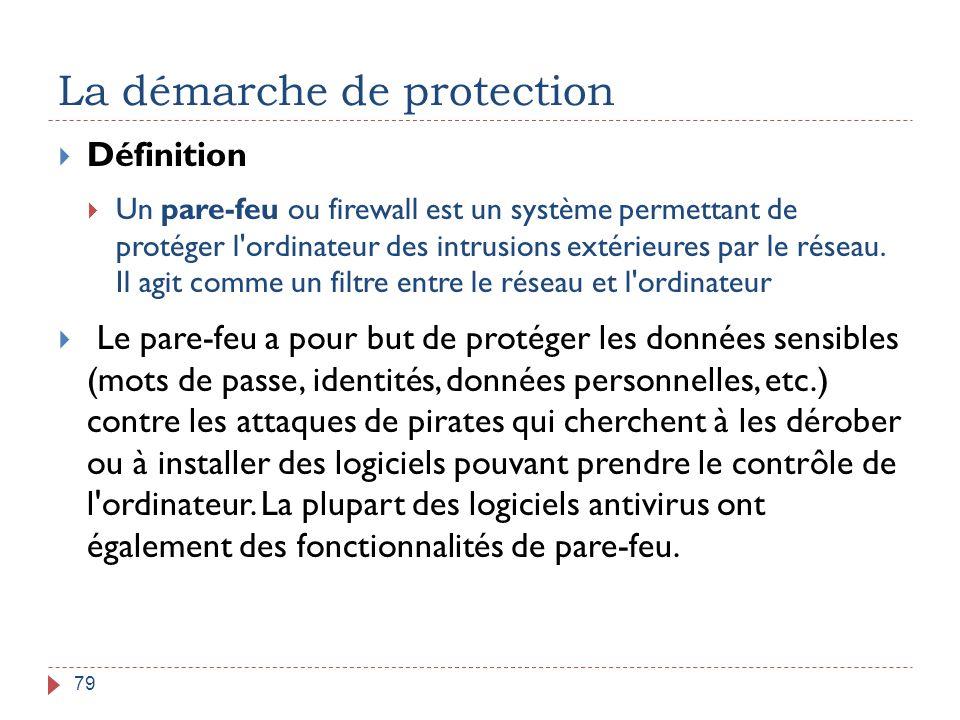 La démarche de protection 79  Définition  Un pare-feu ou firewall est un système permettant de protéger l'ordinateur des intrusions extérieures par