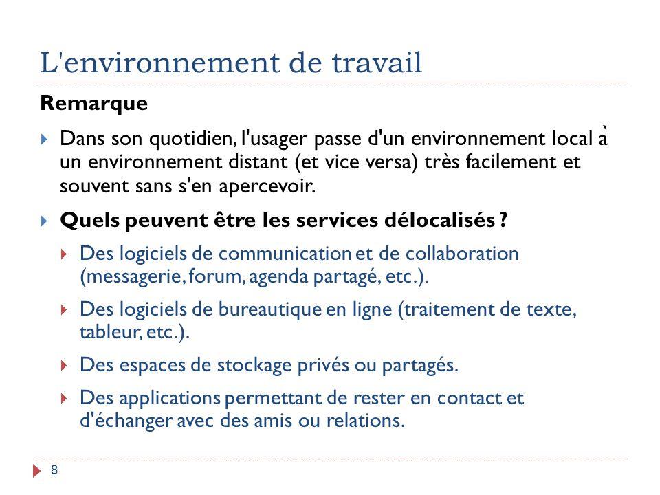 L'environnement de travail 8 Remarque  Dans son quotidien, l'usager passe d'un environnement local a ̀ un environnement distant (et vice versa) très