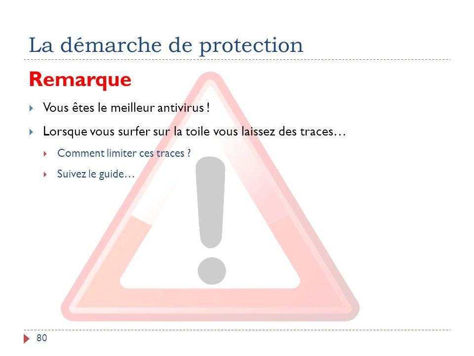 La démarche de protection 80 Remarque  Vous êtes le meilleur antivirus !  Lorsque vous surfer sur la toile vous laissez des traces…  Comment limite