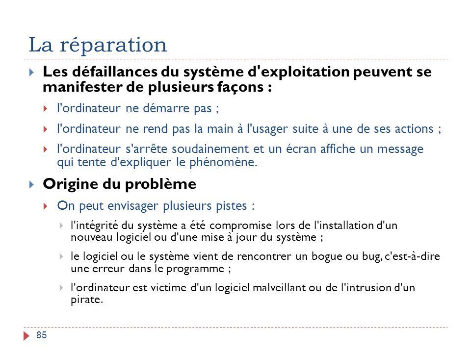 La réparation 85  Les défaillances du système d'exploitation peuvent se manifester de plusieurs façons :  l'ordinateur ne démarre pas ;  l'ordinate