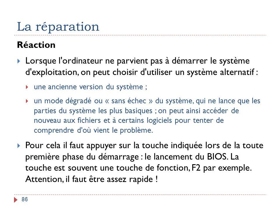 La réparation 86 Réaction  Lorsque l'ordinateur ne parvient pas à démarrer le système d'exploitation, on peut choisir d'utiliser un système alternati