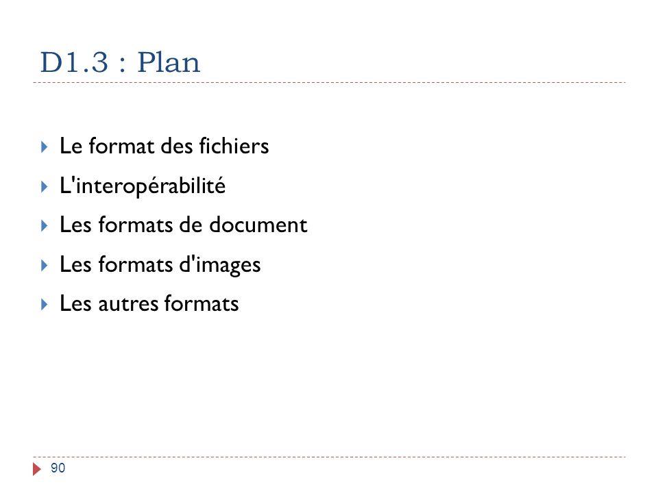 D1.3 : Plan 90  Le format des fichiers  L'interopérabilité  Les formats de document  Les formats d'images  Les autres formats