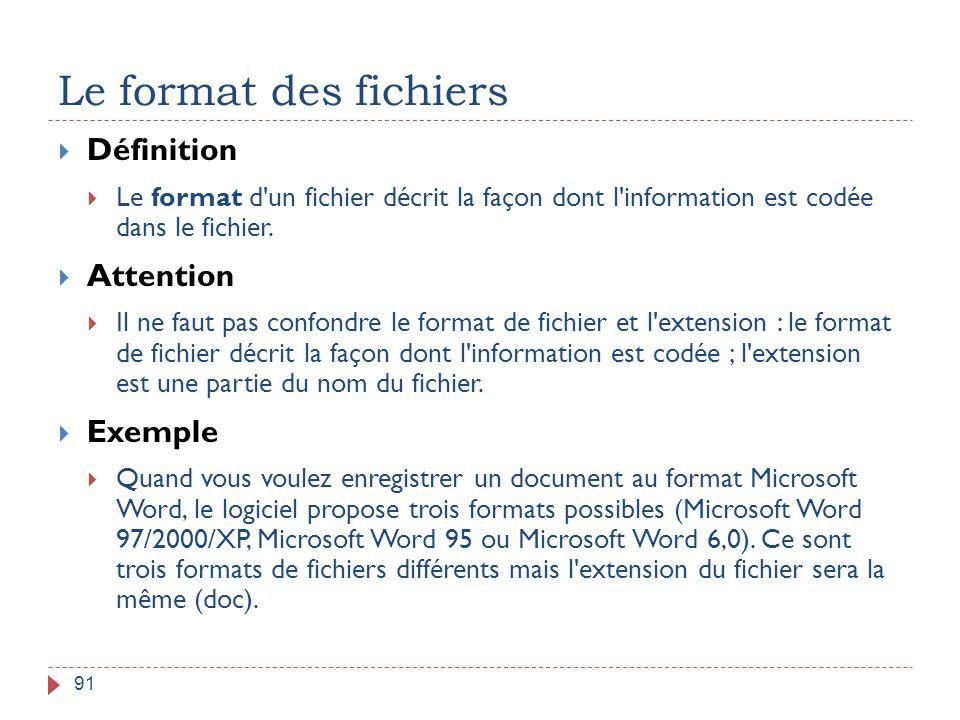 Le format des fichiers 91  Définition  Le format d'un fichier décrit la façon dont l'information est codée dans le fichier.  Attention  Il ne faut