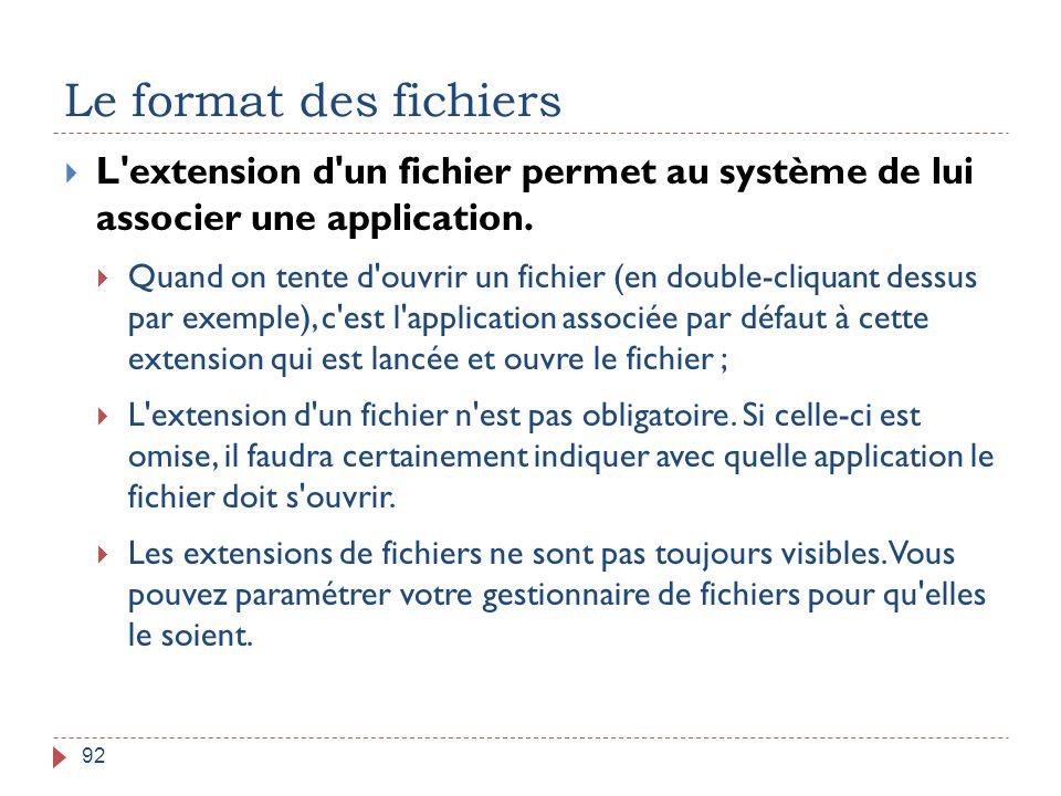 Le format des fichiers 92  L'extension d'un fichier permet au système de lui associer une application.  Quand on tente d'ouvrir un fichier (en doubl