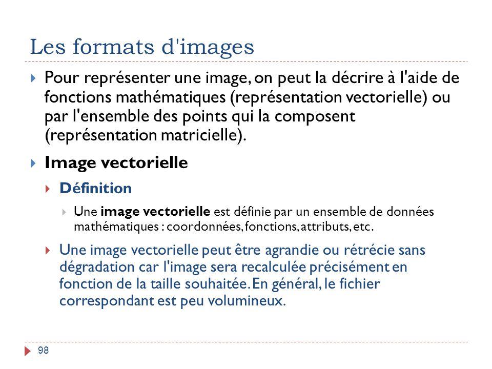 Les formats d'images 98  Pour représenter une image, on peut la décrire à l'aide de fonctions mathématiques (représentation vectorielle) ou par l'ens