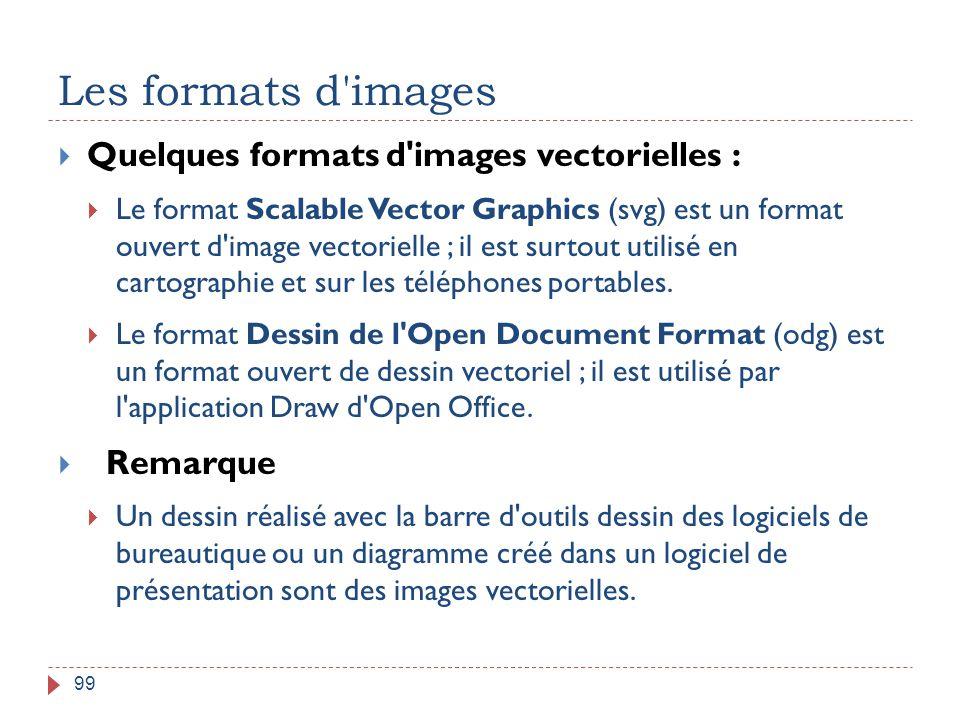 Les formats d'images 99  Quelques formats d'images vectorielles :  Le format Scalable Vector Graphics (svg) est un format ouvert d'image vectorielle
