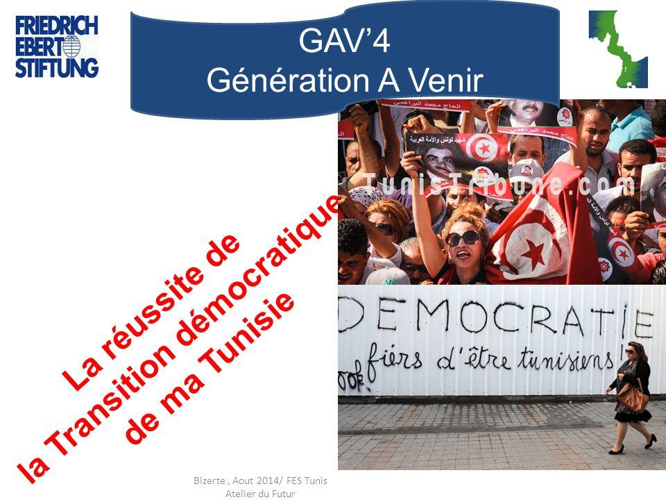 La réussite de la Transition démocratique de ma Tunisie Bizerte, Aout 2014/ FES Tunis Atelier du Futur GAV'4 Génération A Venir