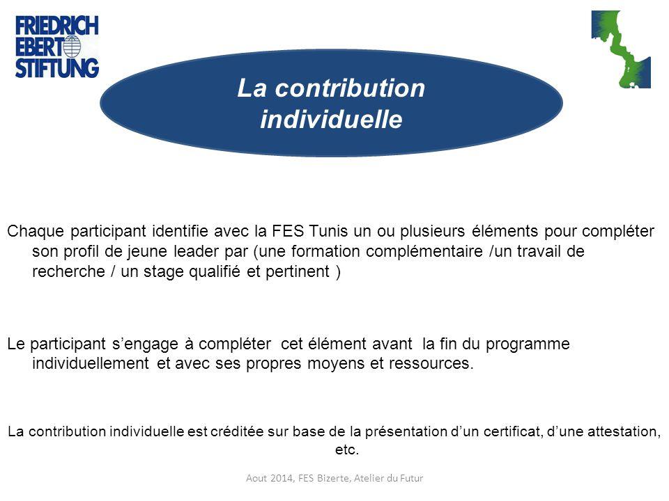 Chaque participant identifie avec la FES Tunis un ou plusieurs éléments pour compléter son profil de jeune leader par (une formation complémentaire /u