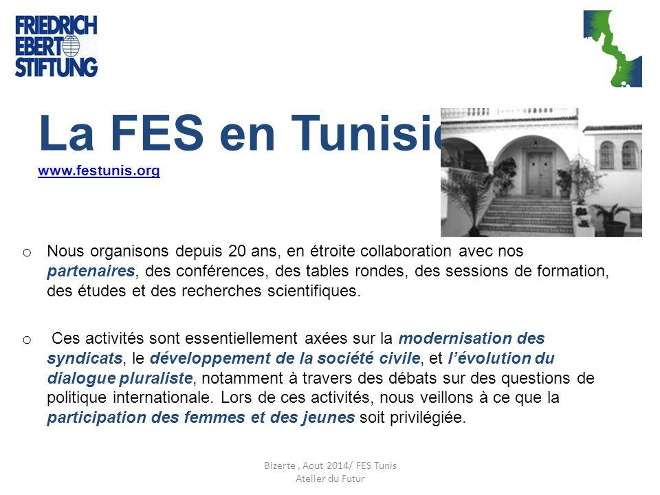 La FES en Tunisie www.festunis.org www.festunis.org o Nous organisons depuis 20 ans, en étroite collaboration avec nos partenaires, des conférences, d