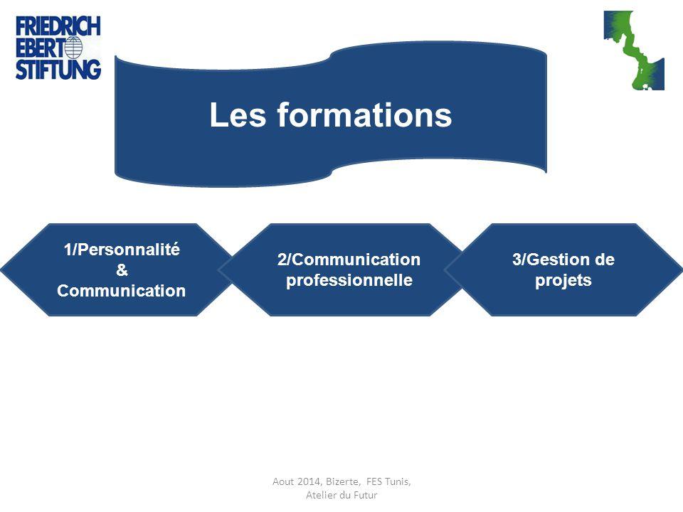 Aout 2014, Bizerte, FES Tunis, Atelier du Futur Les formations 1/Personnalité & Communication 2/Communication professionnelle 3/Gestion de projets