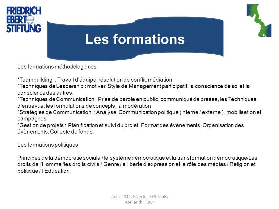 Aout 2014, Bizerte, FES Tunis, Atelier du Futur Les formations Les formations méthodologiques *Teambuilding : Travail d'équipe, résolution de conflit,