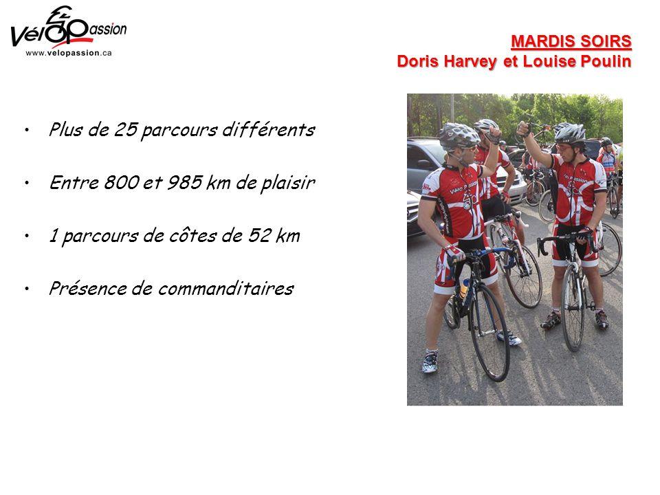 Plus de 25 parcours différents Entre 800 et 985 km de plaisir 1 parcours de côtes de 52 km Présence de commanditaires MARDIS SOIRS Doris Harvey et Louise Poulin