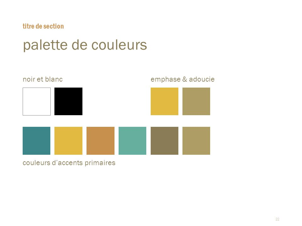 22 palette de couleurs titre de section noir et blancemphase & adoucie couleurs d'accents primaires