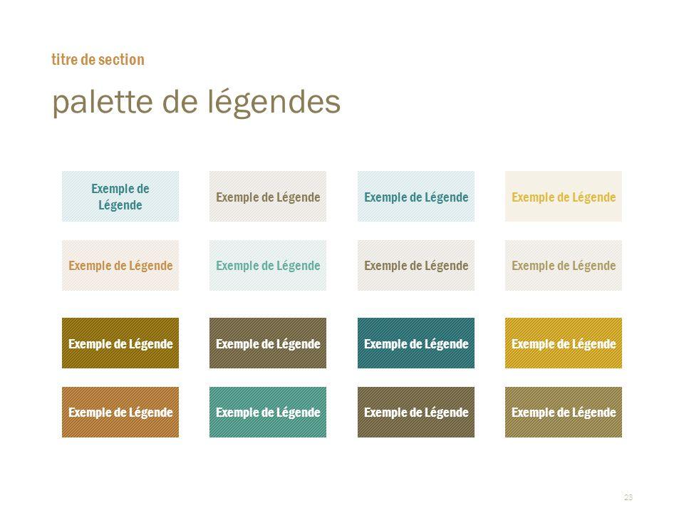 23 palette de légendes titre de section Exemple de Légende